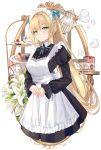 1girl apron bangs black_dress blue_bow border bow cake commentary_request cup dress eyebrows_visible_through_hair flower food green_eyes hair_between_eyes hair_bow hands_clasped highres long_hair long_sleeves maid maid_headdress muka_tsuku original own_hands_together pastry plate puffy_sleeves revision sidelocks simple_background smile solo steam teacup teapot twintails very_long_hair white_background white_flower