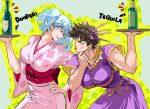 2boys alcohol arrow_(symbol) bangs battle_tendency blue_hair bottle breast_padding brown_hair buttons chin_stroking collarbone commentary crossdressinging crossover dress earrings english_commentary eye_contact floral_print gintama green_eyes hair_ornament holding holding_tray japanese_clothes jewelry jojo_no_kimyou_na_bouken joseph_joestar_(tequila) joseph_joestar_(young) kimono leaning_forward lipstick liquor looking_at_another makeup male_focus mixed-language_commentary multiple_boys muscle notice_lines obi pink_kimono print_kimono purple_dress red_eyes red_lipstick red_sash sakata_gintoki sash seiyuu_connection short_hair short_sleeves signature star_(symbol) sugita_tomokazu sweatdrop tequila tray twintails wide_sleeves zzyzzyy