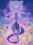 blue_eyes commentary_request energy gen_1_pokemon glowing highres legendary_pokemon looking_at_viewer mew mewtwo mythical_pokemon peron_(niki2ki884) poke_ball pokemon pokemon_(anime) pokemon_(classic_anime) pokemon_(creature) pokemon_m01 signature toes violet_eyes