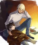 2boys :o amuro_tooru bangs black-framed_eyewear black_footwear book brown_sweater casual child closed_eyes closed_mouth commentary_request cropped_legs dark_skin dark_skinned_male edogawa_conan glasses grey_pants hair_between_eyes indesign long_sleeves lying male_focus meitantei_conan multiple_boys on_back one_knee open_book pants shoes short_hair signature sitting sketch sleeping smile sweater turtleneck turtleneck_sweater white_sweater