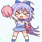 >_< 1girl :d absurdres ahoge bangs blue_background blue_bow blue_footwear blue_hair blue_skirt blush bow breasts cheerleader chibi closed_eyes eyebrows_visible_through_hair facing_viewer full_body hair_between_eyes hair_bow hana_kazari highres holding kneehighs long_hair navel open_mouth outstretched_arm pom_poms princess_connect! princess_connect!_re:dive shirt shoes skirt sleeveless sleeveless_shirt small_breasts smile solo standing starry_background tomo_(princess_connect!) very_long_hair white_legwear white_shirt xd