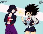 angry black_hair caulifla crossdressing crossover dragon_ball dragon_ball_super echo_saber kill_la_kill matoi_ryuuko pants skirt