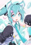 1girl akino_coto animal_ears aqua_eyes aqua_hair bangs blush cat_ears cat_tail commentary fang gloves hatsune_miku highres looking_at_viewer necktie open_mouth paw_gloves paw_hair_ornament paws revision skin_fang solo tail twintails vocaloid
