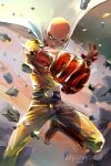 1boy bald belt bodysuit boots cape clenched_hand closed_mouth commentary debris floating_cape gloves leg_up looking_at_viewer male_focus motion_lines one-punch_man punching red_footwear red_gloves saitama_(one-punch_man) serious signature solo superhero watermark white_cape wind yellow_bodysuit zzyzzyy