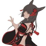 1girl animal_ears armor bangs black_hair cat_ears detached_sleeves eyebrows_visible_through_hair final_fantasy final_fantasy_xiv fingernails flat_color floral_print flower hair_flower hair_ornament hand_up highres japanese_armor kote kurokote long_hair long_sleeves miqo'te open_mouth orange_eyes red_flower red_ribbon ribbon simple_background solo white_background wide_sleeves yoshikyuu