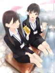 2girls :d ama_mitsuki ashiyu bangs black_hair breasts brown_eyes brown_hair business_suit coffee_cup commentary cup disposable_cup drinking_straw formal highres id_card juice_box long_hair low_twintails multiple_girls office_lady open_mouth original pencil_skirt revision sitting skirt smile soaking_feet steam suit teeth twintails water