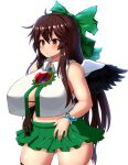 1girl bird_wings black_gloves black_wings blush bow bracelet breasts brown_eyes brown_hair cape crop_top crop_top_overhang gloves green_skirt highres jewelry large_breasts long_hair miniskirt open_clothes open_shirt peso_(cheese_company) reiuji_utsuho shirt single_glove skirt sleeveless sleeveless_shirt solo stomach third_eye touhou white_cape white_shirt wings