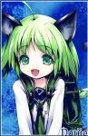 1girl ahoge animal_ears backpack bag eien_no_aselia eternity_sword_series green_eyes green_hair hitomaru nariio_greenspirit_lasfort neckerchief sailor_collar school_uniform serafuku