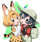 2girls :d animal_ear_fluff animal_ears backpack bag beige_headwear beige_shorts black_eyes black_gloves black_hair blonde_hair blush breasts collarbone commentary_request elbow_gloves flat_chest from_above gloves green_background hair_between_eyes hat highres kaban_(kemono_friends) kemono_friends looking_at_viewer medium_breasts multiple_girls nekonyan_(inaba31415) open_mouth orange_skirt red_shirt serval_(kemono_friends) serval_ears serval_print shirt short_hair simple_background skirt smile standing triangle two-tone_background upper_body v white_background white_shirt yellow_eyes yuri