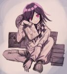 1boy bangs book_stack checkered checkered_scarf closed_mouth commentary_request danganronpa highres holding jacket long_sleeves looking_at_viewer mdr_(mdrmdr1003) medium_hair new_danganronpa_v3 ouma_kokichi pants pink_eyes purple_hair scarf shiny shiny_hair sitting sketch smile solo