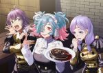 3girls alternate_costume bernadetta_von_varley cake drooling fake_blood fire_emblem fire_emblem:_path_of_radiance fire_emblem:_three_houses fire_emblem_fates food garreg_mach_monastery_uniform headband highres ilyana_(fire_emblem) knife multiple_girls peri_(fire_emblem) sauce sukkirito_(rangusan) upper_body wavy_mouth