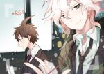 2boys ahoge bangs black_jacket black_neckwear blurry blurry_background brown_hair brown_jacket collared_shirt commentary_request danganronpa_(series) danganronpa_3_(anime) face green_eyes hair_between_eyes hand_up highres hinata_hajime holding hope's_peak_academy_school_uniform jacket komaeda_nagito looking_at_viewer male_focus messy_hair midou_(grk12138) multiple_boys necktie open_mouth paper profile recording school_uniform shirt short_hair smile upper_body white_hair white_shirt