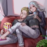 1boy 1girl abs absurdres belt black_shirt blonde_hair cellphone couch dorohedoro ear_piercing food glasses highres hy_(hungyu) indoors jacket jewelry long_hair noi_(dorohedoro) pants phone piercing plant popcorn red_eyes ring shin_(dorohedoro) shirt sitting sleeping slippers smile stitches white_hair white_pants