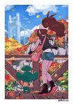 1girl aono_wo artist_name baseball_cap bird black_legwear black_vest black_wristband boots border brown_hair clouds commentary_request day fence from_behind gen_5_pokemon grass hat high_ponytail hilda_(pokemon) leaves_in_wind long_hair outdoors pansage pokemon pokemon_(creature) pokemon_(game) pokemon_bw short_shorts shorts sidelocks sky socks standing vest white_border wristband