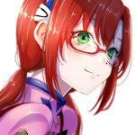 1girl blurry depth_of_field from_side glasses green_eyes hair_between_eyes highres interface_headset looking_to_the_side makinami_mari_illustrious neon_genesis_evangelion plugsuit rebuild_of_evangelion red-framed_eyewear redhead smile solo twintails upper_body white_background yoon