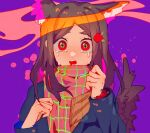 +_+ 1girl animal_ears brown_hair clockfreeze dog_ears dog_tail flower green_eyes hair_ornament hands_up highres long_hair long_sleeves multicolored multicolored_eyes open_mouth original purple_background red_eyes red_flower scarf solo tail tears upper_body