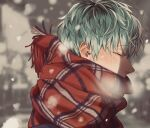1boy aqua_hair bangs black_hair blurry blush breath character_request closed_eyes closed_mouth copyright_request covered_mouth depth_of_field ear_piercing eyelashes face gradient_hair green_hair jewelry kamachiri messy_hair multicolored_hair nose_blush outdoors piercing profile ribbon scarf snowflakes snowing upper_body