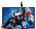 absurdres arm_cannon border clenched_hand cropped_legs decepticon english_commentary highres insignia lextodrawstuff looking_at_viewer mecha megatron megatron_(idw) no_humans open_hand red_eyes solo the_transformers_(idw) transformers weapon