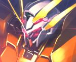 close-up dark_persona extra_eyes glowing glowing_eyes gundam gundam_00 gundam_00_a_wakening_of_the_trailblazer gundam_harute highres ishiyumi looking_ahead mecha no_humans red_eyes science_fiction solo v-fin