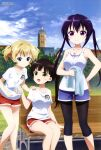 3girls :d absurdres bangs bare_arms bench blonde_hair blue_eyes blue_shorts blue_sky blunt_bangs brown_hair building closed_mouth clouds collarbone day dog_tags feet_out_of_frame gochuumon_wa_usagi_desu_ka? grass green_eyes gym_uniform hand_on_another's_shoulder hand_on_hip highres holding holding_towel kirima_sharo leggings long_hair looking_at_another looking_at_viewer megami_magazine multiple_girls official_art open_mouth outdoors park_bench purple_hair red_shorts shirt short_hair short_shorts shorts sitting sky smile standing tank_top tedeza_rize towel tree twintails ujimatsu_chiya violet_eyes white_shirt window