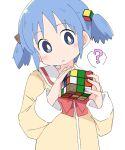 1girl blue_eyes blue_hair ixy naganohara_mio nichijou rubik's_cube school_uniform short_hair simple_background twintails white_background