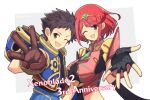 1boy 1girl :d bangs black_gloves breasts brown_hair chest_jewel earrings fingerless_gloves gloves highres jewelry large_breasts looking_at_viewer mochimochi_(xseynao) one_eye_closed open_mouth pyra_(xenoblade) reaching_out red_eyes redhead rex_(xenoblade) short_hair smile swept_bangs tiara upper_body w xenoblade_chronicles_(series) xenoblade_chronicles_2 yellow_eyes
