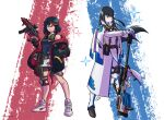2girls adapted_costume bangs black_hair black_jacket blue_eyes blunt_bangs breasts capelet commission english_commentary eyebrows_visible_through_hair frown gun hand_in_pocket highres holding holding_gun holding_weapon jacket junketsu kill_la_kill kiryuuin_satsuki long_hair looking_ahead looking_at_viewer matoi_ryuuko multicolored_hair multiple_girls off-shoulder_jacket parted_lips peyton_gee puma_(brand) redhead rifle senketsu shoes short_hair small_breasts sneakers sniper_rifle streaked_hair submachine_gun weapon white_capelet
