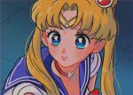 1girl bangs bishoujo_senshi_sailor_moon blonde_hair blue_eyes blue_sailor_collar blush choker crescent crescent_earrings derivative_work diadem earrings hair_over_shoulder heart heart_choker jewelry long_hair marinat0530 original parted_bangs red_choker sailor_collar sailor_moon sailor_moon_redraw_challenge screencap_redraw solo tsukino_usagi twintails upper_body