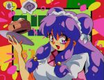 1990s_(style) 1girl apron bangs breasts double_bun fang hair_between_eyes long_hair medium_breasts open_mouth potiri02 purple_hair ranma_1/2 shampoo_(ranma_1/2) sidelocks solo speech_bubble violet_eyes waitress
