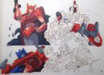 1980s_(style) battle blue_eyes breasts cog_(transformers) elita_one explosion gun hand_on_hip holding holding_gun holding_weapon impactor large_breasts marble-v mirage_(transformers) optimus_prime ratchet retro_artstyle sideswipe sketch traditional_media transformers transformers:_war_for_cybertron_trilogy weapon white_background work_in_progress