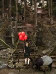 1girl architecture balloon bangs black_dress black_eyes black_footwear black_hair blunt_bangs closed_mouth commentary_request dress east_asian_architecture forest frilled_legwear frilled_sleeves frills frown holding holding_balloon katou_fumitaka kneehighs komainu long_hair long_sleeves looking_at_viewer mary_janes nature object_request original outdoors pipes plant scenery shoes shrine side_ponytail socks solo stairs standing statue stone stone_floor stone_wall sunset tapir torii translation_request tree valve wall white_legwear white_neckwear wide_shot