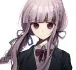 1girl bangs black_jacket blunt_bangs blurry bow braid closed_mouth collared_shirt commentary_request danganronpa danganronpa_1 eyebrows_visible_through_hair floating_hair hair_ribbon jacket kirigiri_kyouko long_hair looking_at_viewer mdr_(mdrmdr1003) portrait purple_hair ribbon shiny shiny_hair shirt simple_background solo twin_braids violet_eyes white_background white_shirt