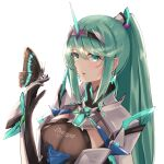 1girl bangs breasts bug butterfly butterfly_on_hand chest_jewel earrings gloves green_eyes green_hair highres insect jewelry large_breasts long_hair long_ponytail pneuma_(xenoblade) ponytail sarasadou_dan solo swept_bangs tiara upper_body xenoblade_chronicles_(series) xenoblade_chronicles_2