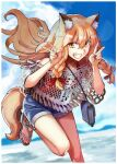 1girl animal_ear_fluff animal_ears bag bare_shoulders blue_shorts blue_sky border brown_eyes brown_hair casual collarbone commentary_request denim denim_shorts double_v fang fate/grand_order fate_(series) fox_ears fox_girl fox_tail grin handbag leaning_forward long_hair looking_at_viewer mountain nail_polish ocean red_nails red_shirt sandals shirt shorts sky smile solo suzuka_gozen_(fate) tail takenoko_seijin toenail_polish under_the_same_sky v white_border white_shirt