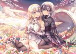 2girls :d armor armored_dress black_dress black_legwear blonde_hair blue_eyes blue_flower blush breasts brown_eyes chain closed_mouth clouds commentary_request dress fate/grand_order fate_(series) field flower flower_field fur-trimmed_legwear fur_trim gauntlets hands_up headpiece jeanne_d'arc_(alter)_(fate) jeanne_d'arc_(fate) jeanne_d'arc_(fate)_(all) large_breasts long_hair multiple_girls open_mouth outdoors photoshop_(medium) red_flower revision rose shirakawako short_hair silver_hair sitting sky smile thigh-highs very_long_hair wariza white_dress white_flower white_rose yellow_flower yokozuwari