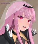 1girl artist_name bangs blunt_bangs brown_background close-up eyebrows_visible_through_hair hololive hololive_english light_blush looking_ahead mori_calliope nohaku open_mouth pink_hair red_eyes solo spikes tiara veil virtual_youtuber