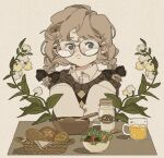 1girl bangs basket blue_eyes blush bottle bowl braid bread brown_hair collared_shirt cup drink flower food freckles glasses ice ice_cube leaf lettuce milk milk_bottle original plant round_eyewear salad shadow shirt solo spoon twin_braids upper_body where_hao white_flower