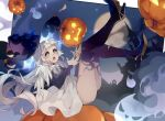 1girl bangs black_footwear blunt_bangs elf_exar flower ghost grey_eyes halloween heart high_heels jack-o'-lantern legs_up long_hair moon open_mouth original pumpkin solo star_(sky) white_flower white_hair