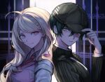 1boy 1girl ahoge akamatsu_kaede back-to-back backpack bag baseball_cap black_hair blonde_hair blurry blurry_background breasts brown_eyes brown_headwear brown_jacket closed_mouth collared_shirt commentary_request danganronpa hair_between_eyes hair_ornament hand_on_headwear hand_up hat highres jacket large_breasts long_hair long_sleeves looking_at_another looking_back musical_note musical_note_hair_ornament muuyiie necktie new_danganronpa_v3 pink_eyes pink_sweater_vest portrait purple_sweater saihara_shuuichi shirt short_hair smile striped_jacket sweater sweater_vest tearing_up upper_body violet_eyes