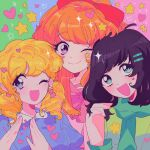 3girls aqua_eyes bangs black_hair blonde_hair blossom_(ppg) blue_eyes blush bow bubbles_(ppg) buttercup_(ppg) green_scarf hair_bow hair_ornament hairclip hands_up heart highres long_sleeves looking_at_viewer meowwniz multiple_girls one_eye_closed open_mouth orange_hair pink_eyes powerpuff_girls red_bow scarf smile sparkle star_(symbol) swept_bangs upper_body