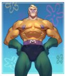 1boy abs black_eyes blonde_hair bodysuit english_commentary from_below gloves green_gloves hands_on_hips highres jeremy_anninos looking_up mermaid_man muscle nickelodeon pectorals skin_tight smile solo spongebob_squarepants superhero underwater v-shaped_eyebrows viacom younger