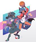 2girls abstract_background animal_ear_fluff animal_ears ball basketball blue_eyes blue_hair boots bow brand_new_animal brown_gloves bzzt_gcxll company_connection constanze_amalie_von_braunschbank-albrechtsberger crossover frown furry gloves goggles goggles_on_head hat highres holding holding_ball jacket kagemori_michiru knee_boots little_witch_academia looking_at_viewer luna_nova_school_uniform multicolored_hair multiple_girls open_clothes open_jacket open_mouth ponytail raccoon_ears raccoon_tail red_bow school_uniform shoes short_hair shorts smile sneakers stanbot_(little_witch_academia) tail track_jacket trigger_(company) two-tone_hair wand witch witch_hat