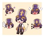 1boy :d ^_^ black_footwear blush blush_stickers boots brown_background chibi closed_eyes curled_horns demon_boy demon_cleric demon_horns demon_tail fang full-face_blush hacha_(hachaowo) hat horns long_sleeves looking_at_viewer male_focus maou-jou_de_oyasumi multiple_views open_mouth parted_lips purple_hair robe shaded_face sleeves_past_wrists smile squiggle steam sweat tail tail_raised two-tone_background violet_eyes wavy_mouth white_background white_headwear white_robe wide-eyed