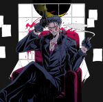 1boy alternate_costume beads blood blood_splatter blue_hair bodypaint chair charatei cigarette claws crescent_moon crossed_legs cu_chulainn_(fate)_(all) cu_chulainn_alter_(fate/grand_order) dark_blue_hair dark_persona earrings facepaint fate/grand_order fate_(series) gloves grin gun hair_beads hair_ornament holding holding_gun holding_weapon jewelry long_hair looking_at_viewer male_focus monster_boy moon necklace open_clothes open_shirt outrage_(fate/grand_order) pants ponytail red_eyes revolver sitting smile smoke smoking solo spiky_hair type-moon weapon