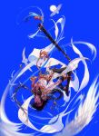 1boy absurdres artist_request bird black_hair black_pants blue_background braid dungeon_and_fighter feathers floating flying headband highres long_hair looking_at_viewer male_mage_(dungeon_and_fighter) official_art pants pointy_ears solo staff sun swift_master_(dungeon_and_fighter) upside-down