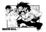 3boys dougi dragon_ball dragon_ball_z fighting greyscale male_focus monochrome multiple_boys muscle piccolo pointy_ears raditz saiyan_armor scouter siblings smile son_goku spiky_hair tukiwani