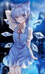 1girl arm_behind_head blue_bow blue_dress blue_eyes blue_hair blurry blurry_background blush bow breasts cirno closed_mouth collared_shirt depth_of_field dress droplets eyebrows_visible_through_hair feet_out_of_frame hair_between_eyes hair_bow highres ice ice_wings kitty knees_together looking_to_the_side medium_breasts mountain neck_ribbon puffy_short_sleeves puffy_sleeves red_neckwear red_ribbon reflection ribbon shirt short_hair short_sleeves sky solo standing touhou tree water white_shirt wings
