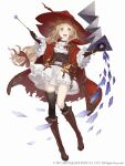 >:) 1girl :d asymmetrical_legwear blonde_hair book boots bracelet cloak cross-laced_footwear dress frills full_body gloves hat jewelry ji_no little_red_riding_hood_(sinoalice) long_hair looking_at_viewer official_art open_mouth orange_eyes single_thighhigh sinoalice smile solo square_enix thigh-highs torn_cloak torn_clothes upper_teeth wand white_background white_dress witch_hat