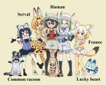 ;d animal animal_ear_fluff animal_ears arm_grab backpack bag bangs black-framed_eyewear black_eyes black_footwear black_gloves black_hair black_legwear black_skirt blonde_hair blue_eyes blue_shirt bow bowtie brown_eyes brown_footwear character_name closed_mouth commentary_request common_raccoon_(kemono_friends) elbow_gloves english_text fennec_(kemono_friends) fennec_fox fox_ears fox_tail gloves green_hair grey_hair grey_headwear grey_shorts hair_ribbon hand_on_another's_shoulder hand_on_hip hat_feather helmet highres holding holding_animal kaban_(kemono_friends) kemono_friends legwear_under_shorts long_hair looking_at_viewer low-tied_long_hair lucky_beast_(kemono_friends) miniskirt mirai_(kemono_friends) namesake one_eye_closed open_mouth pantyhose pink_ribbon pink_shirt pith_helmet pleated_skirt print_gloves print_legwear print_neckwear raccoon raccoon_ears raccoon_tail red_shirt ribbon semi-rimless_eyewear serval serval_(kemono_friends) serval_ears serval_print serval_tail shirt shoes short_hair short_jumpsuit short_sleeves shorts simple_background skirt smile standing standing_on_one_leg striped_tail tail thigh-highs under-rim_eyewear white_footwear white_gloves white_headwear white_legwear white_skirt yamaguchi_yoshimi yellow_background yellow_eyes yellow_gloves yellow_legwear yellow_neckwear