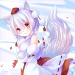 animal_ears autumn_leaves bare_shoulders breasts detached_sleeves eyebrows_visible_through_hair hat inubashiri_momiji large_breasts outdoors pom_pom_(clothes) red_eyes red_skirt ribbon-trimmed_sleeves ribbon_trim shirt short_hair silver_hair skirt sleeveless sleeveless_shirt tail tokin_hat touhou turtleneck white_shirt wolf_ears wolf_tail yunagi_(arukumaruta)